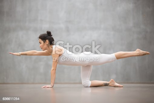 istock Beautiful Yogi woman doing Bird dog pose 636611254