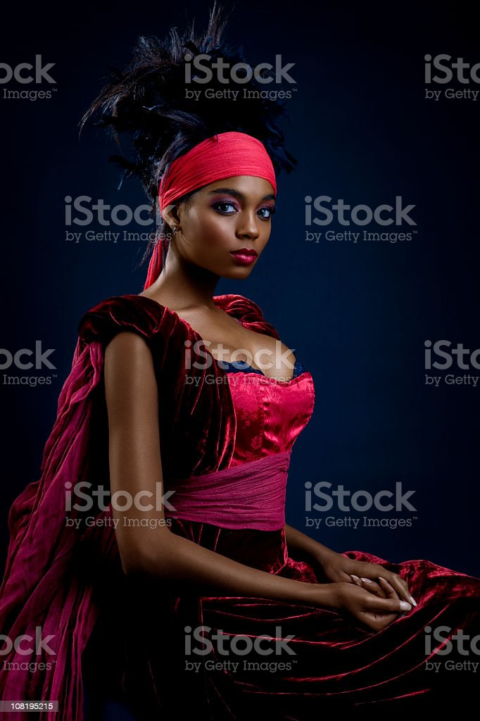 African American Young Woman Posing as Beautiful Queen stock photo