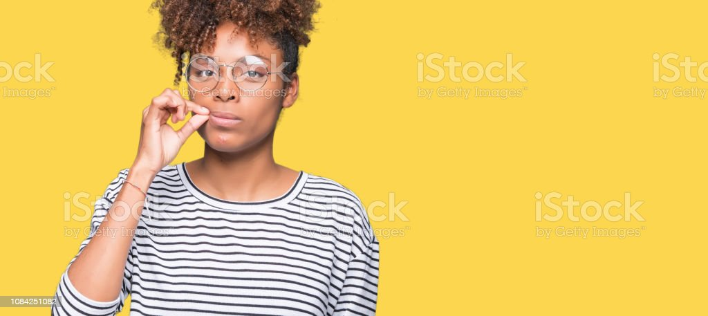 Beautiful Young African American Woman Wearing Glasses Over