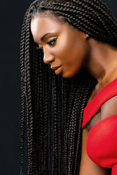 Beautiful young african woman with long braided hair. stock photo