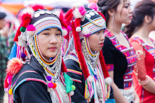 Beautiful young asian lady Akha hill tribe on Akha Swing Festival. The annual Akha Swing Festival is pretty much about women and fertility. - foto stock