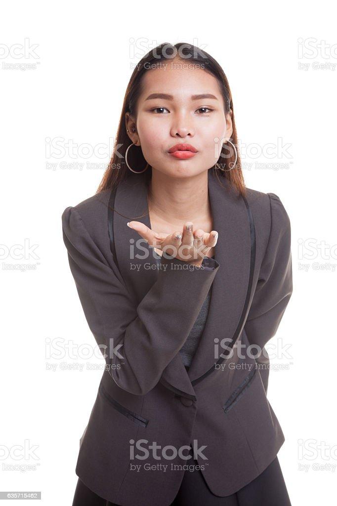 Beautiful young Asian woman blow a kiss. royalty-free stock photo