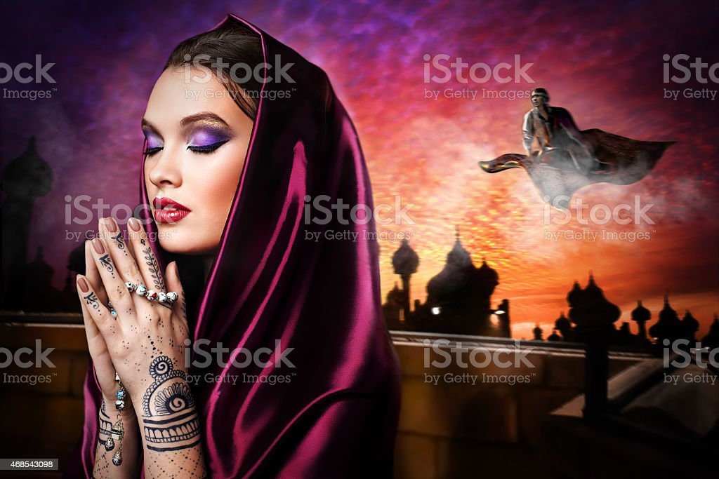 beautiful young oriental woman stock photo