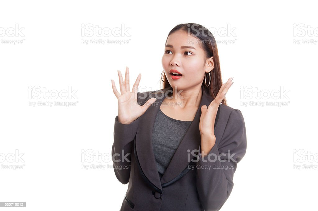 Beautiful young Asian woman shocked  and look up. royalty-free stock photo
