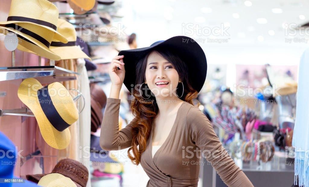 Beautiful Young Asian Woman Shopping Hat Fashion In Shop