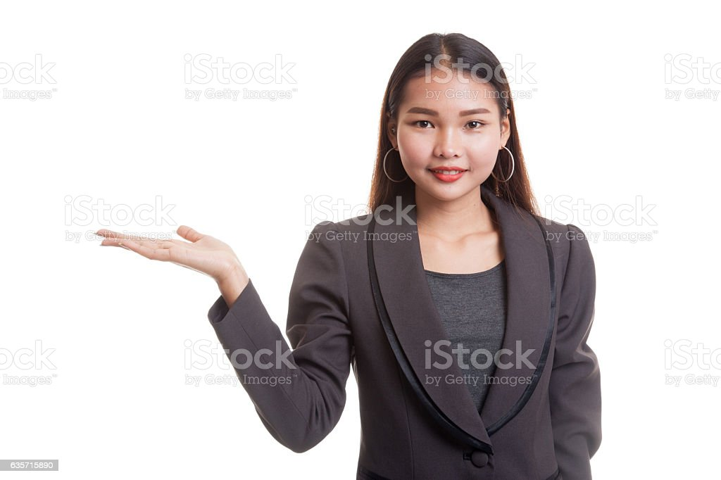 Beautiful young Asian woman show palm hand. royalty-free stock photo