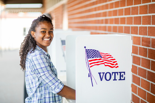 Beautiful Young Black Girl Voting Stock Photo - Download Image Now