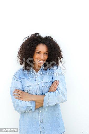 istock Beautiful young black woman smiling 486526709