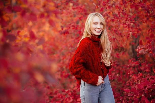 Beautiful young blond woman stock photo