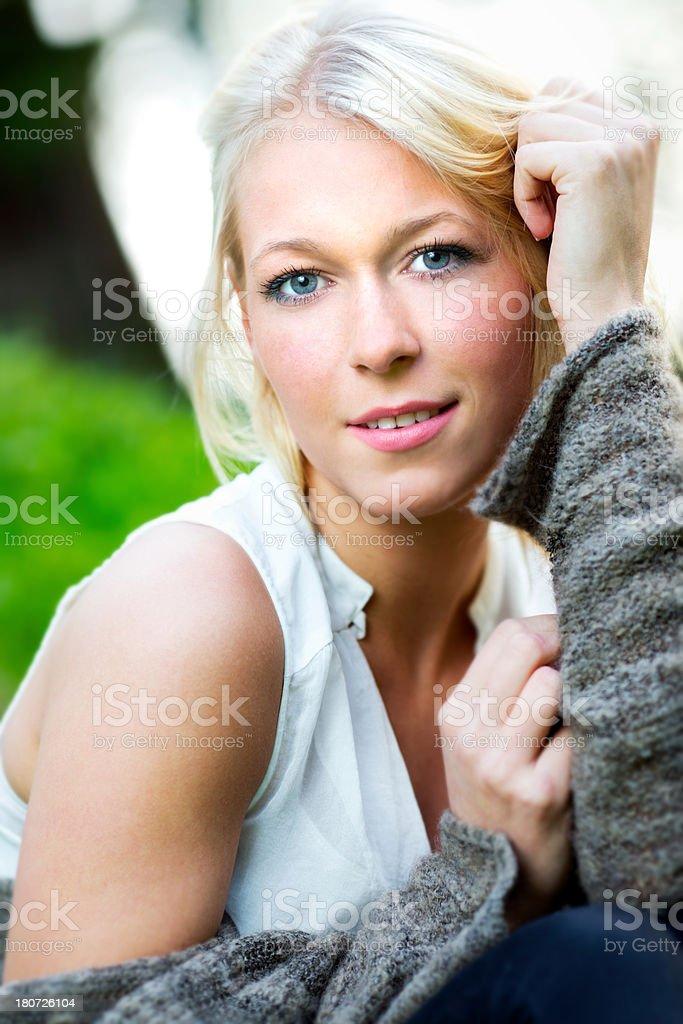 Beautiful young blond woman portrait royalty-free stock photo