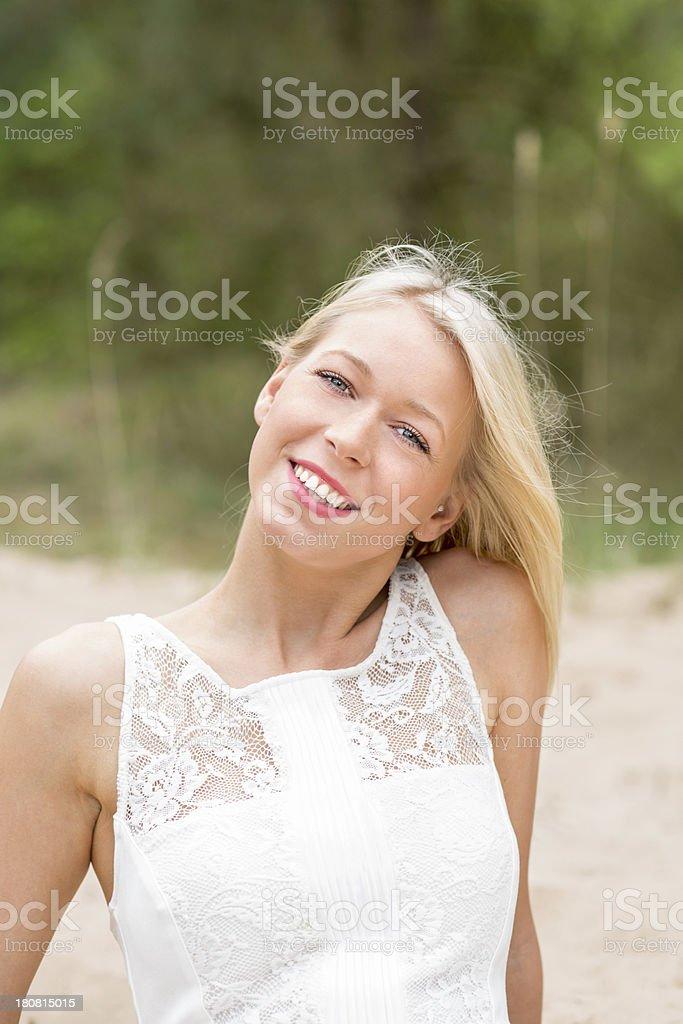 Beautiful young blond woman portrait stock photo