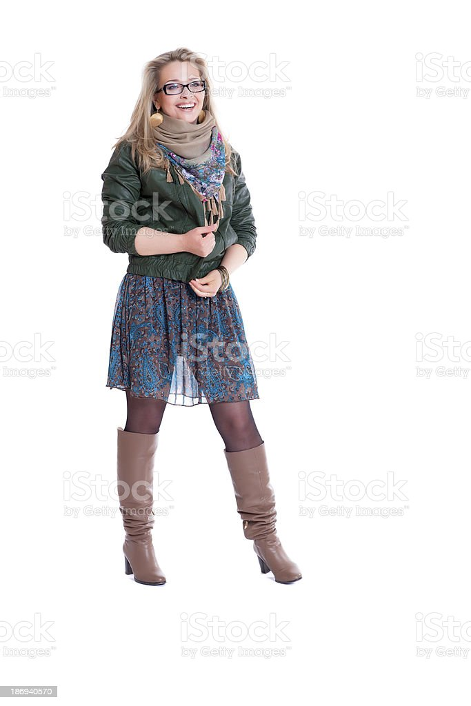 Beautiful young blonde wearing dress and jacket royalty-free stock photo