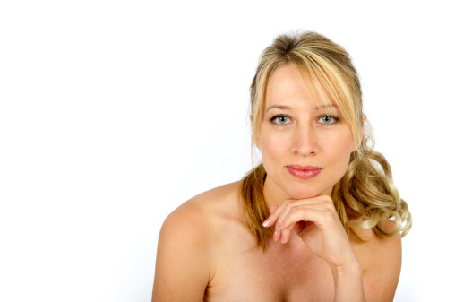 Blond Woman With Naked Shoulders Stock Photo - Image of