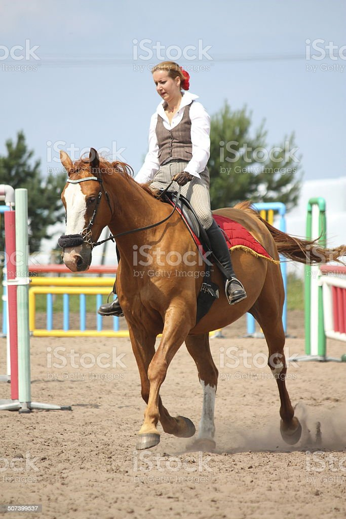 Beautiful Young Blonde Woman Riding Chestnut Horse Stock Photo Download Image Now Istock