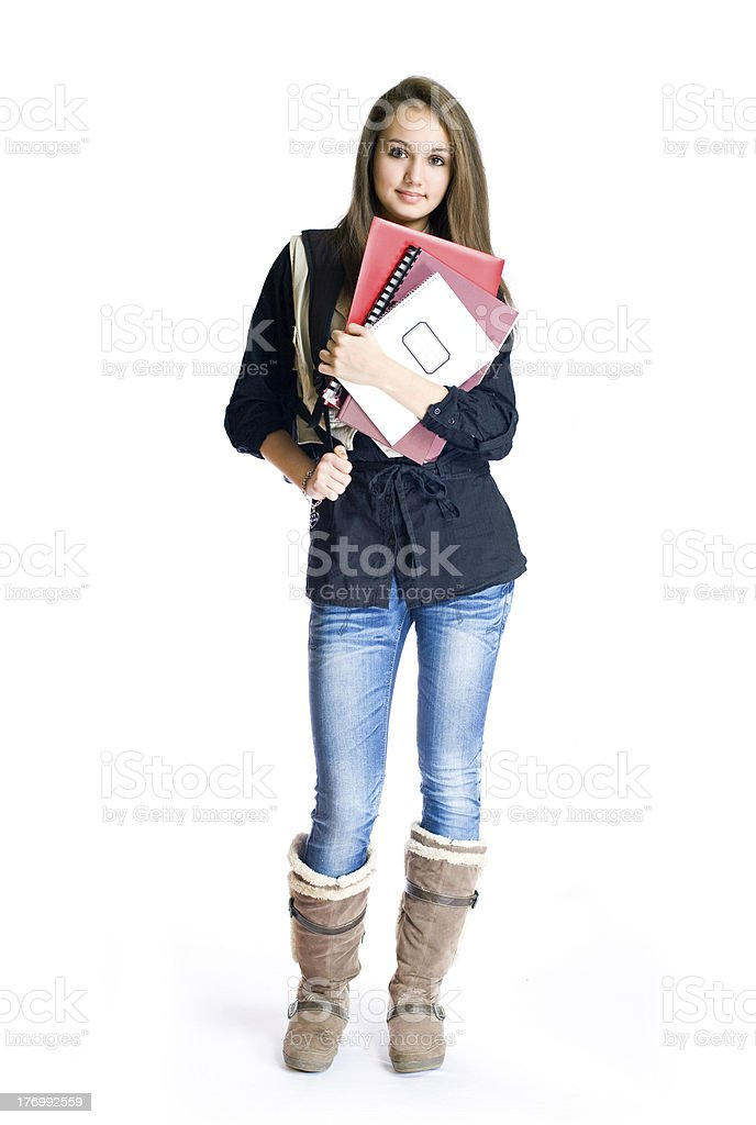 Beautiful young brunette student. royalty-free stock photo
