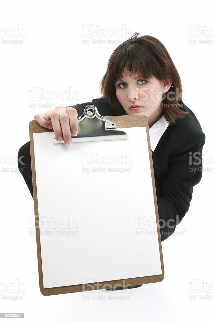 Beautiful Young Businesswoman with Clip Board royalty-free stock photo