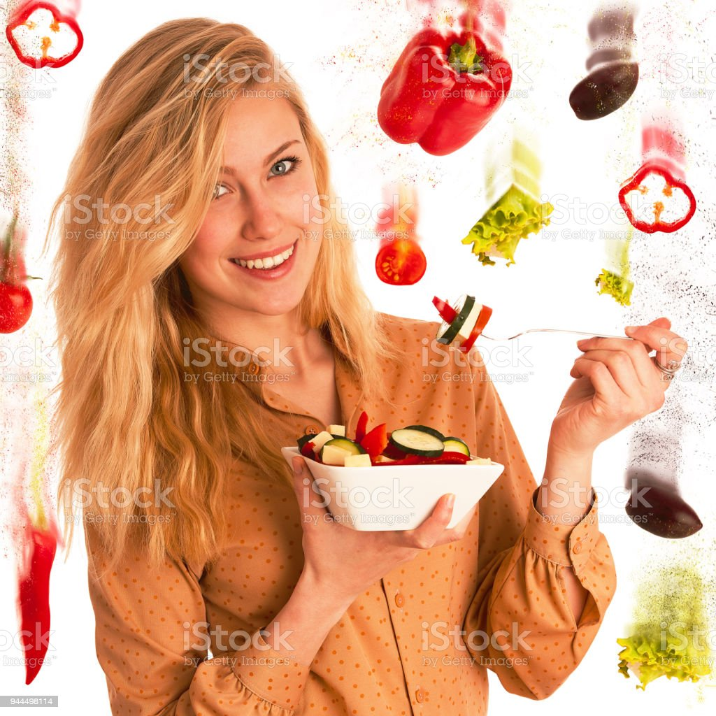 Beautiful Young Caucasian Blonde Woman Eats A Delicious