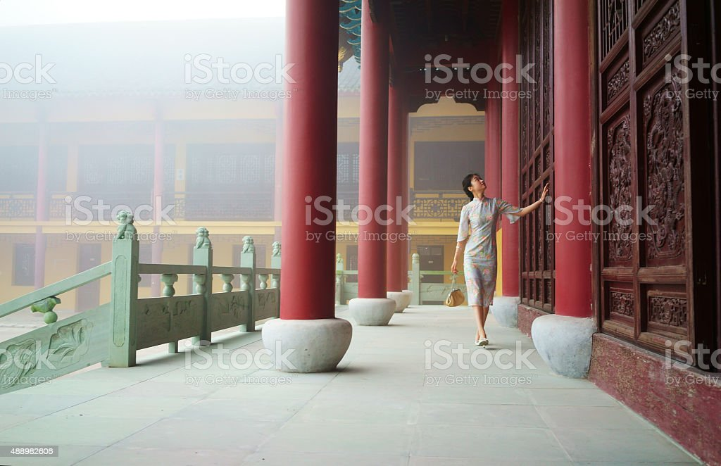 Beautiful young china Women in Traditional Clothing on temple