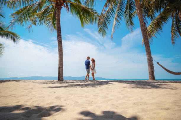 Beautiful young couple walking along the seashore amid a bright tropical beach Beautiful young couple walking along the seashore amid a bright tropical landscape, vacations and honeymoon in a tropical paradise amid stock pictures, royalty-free photos & images
