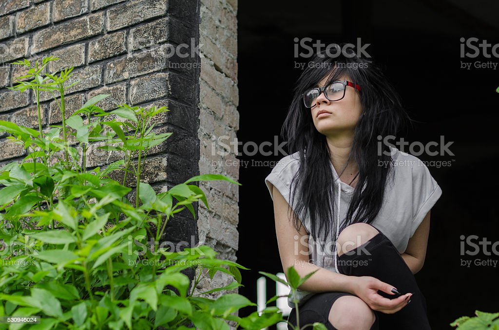 Beautiful young emo girl or teen stock photo