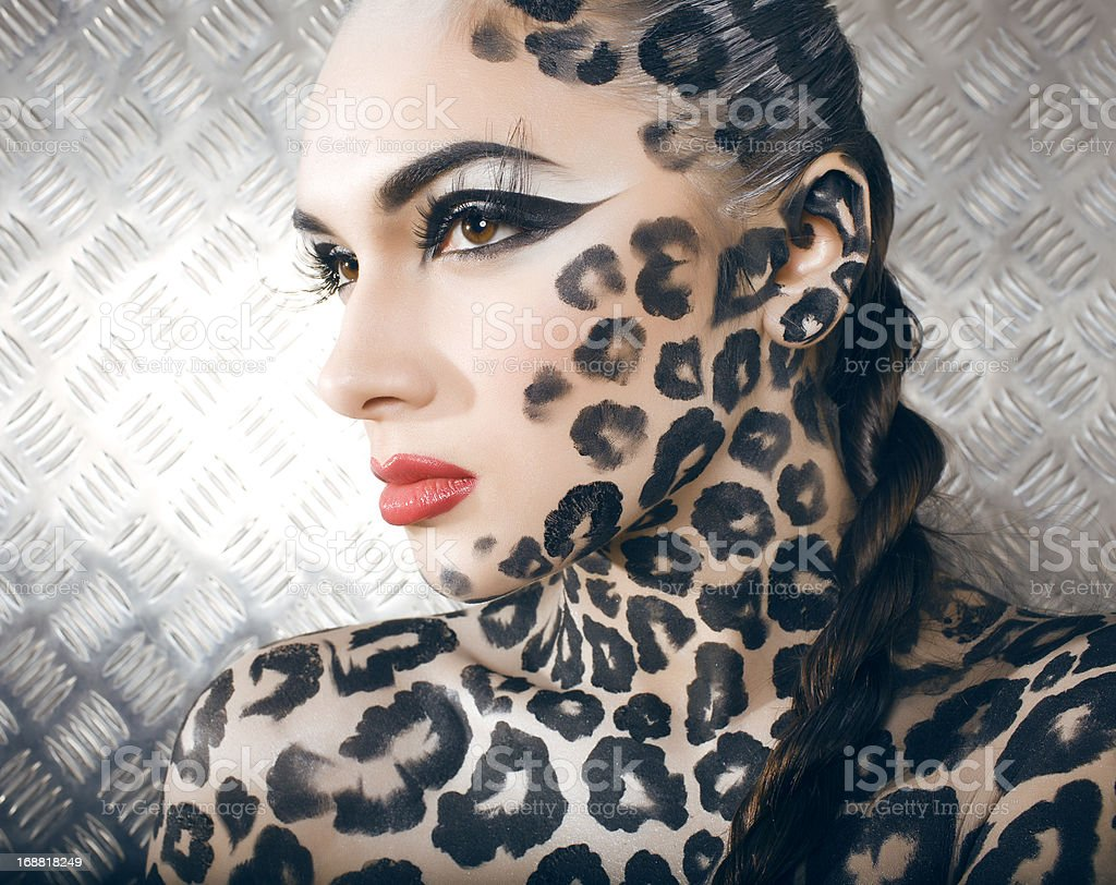 beautiful young european model in cat make-up and bodyart royalty-free stock photo