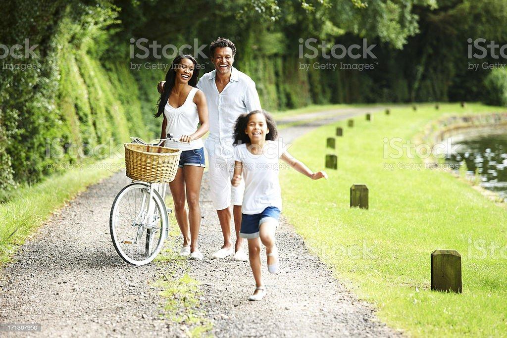 Beautiful young family enjoying vacations royalty-free stock photo