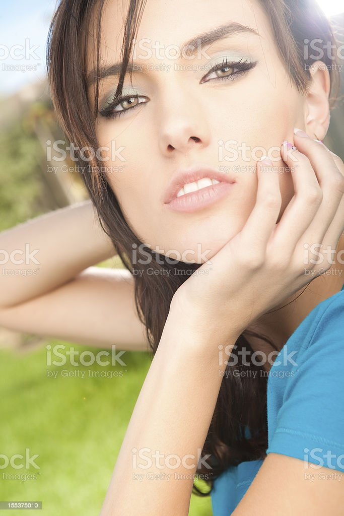 Beautiful young female summer portrait royalty-free stock photo