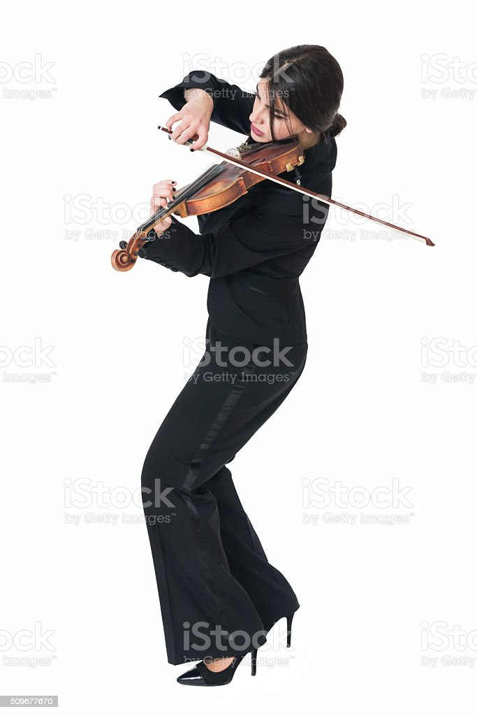 Beautiful Young Female Violinist Playing Violin stock photo