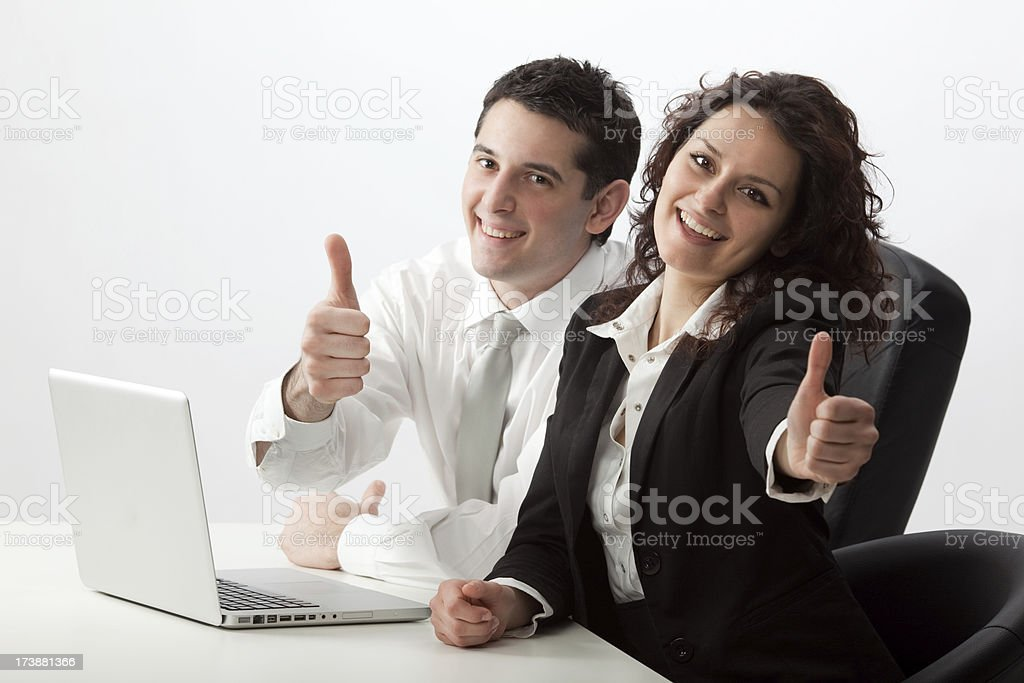 beautiful young girl and man colleague business teamwork royalty-free stock photo