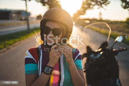 Beautiful young girl getting ready for the ride