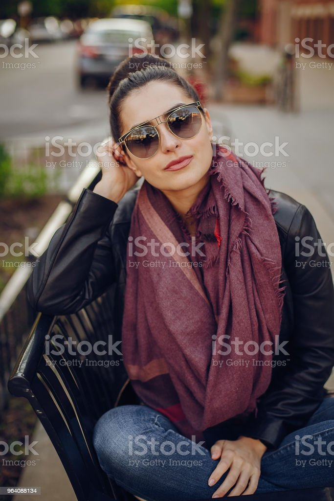 beautiful young girl in Chicago, beautiful weather - Royalty-free Adult Stock Photo