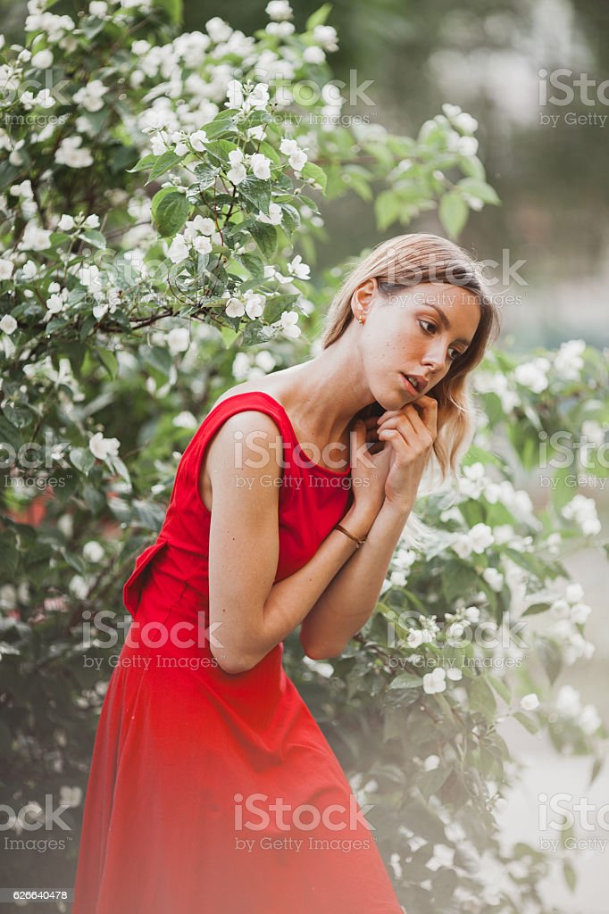 Beautiful Young Girl In Cute Red Dress Walking In The Royalty Free Stock Photo