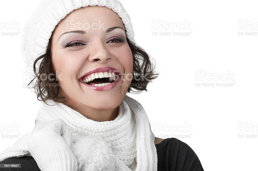 beautiful young girl in her winter warm clothing royalty-free stock photo