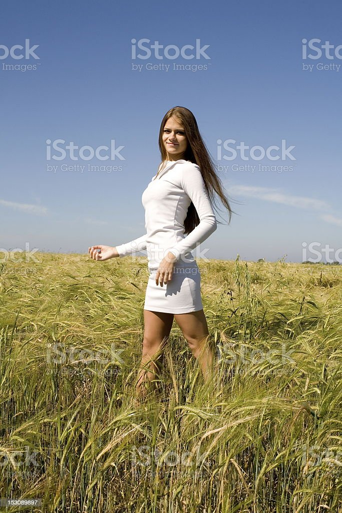 beautiful young girl in  rye field royalty-free stock photo