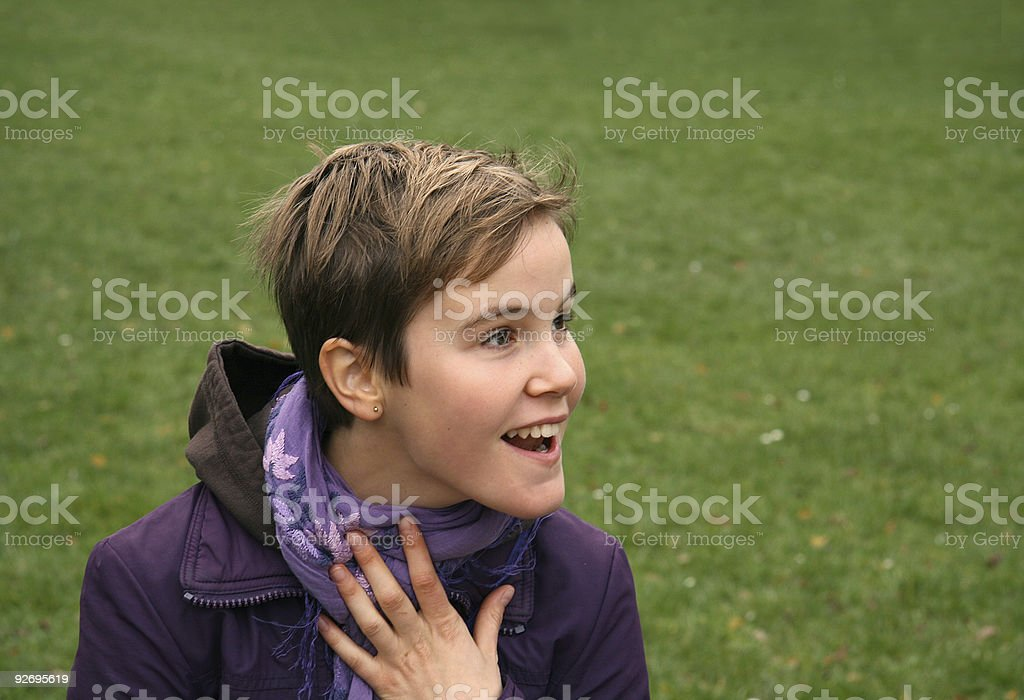 Beautiful young girl looking surprised royalty-free stock photo