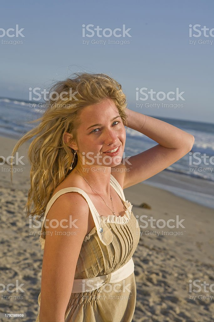 Beautiful Young Girl on Beach royalty-free stock photo