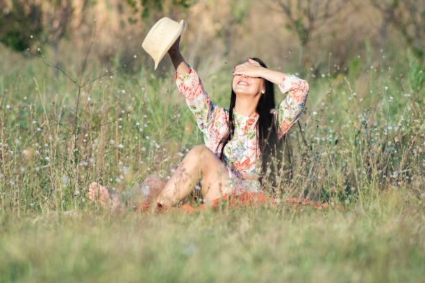 Beautiful young girl outdoors stock photo stock photo