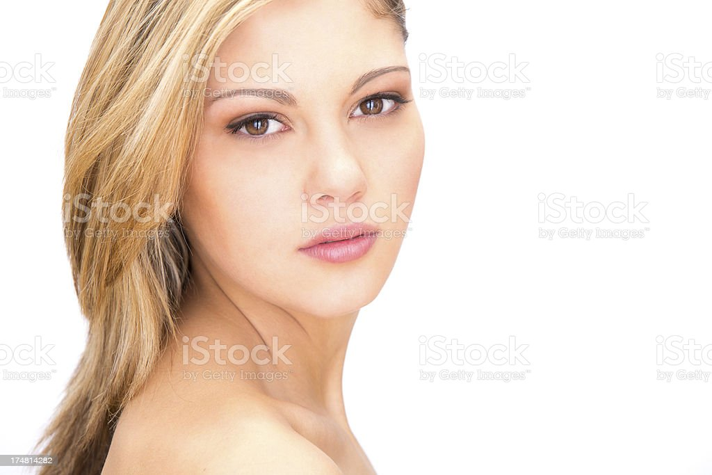 Beautiful young girl portrait on white background royalty-free stock photo