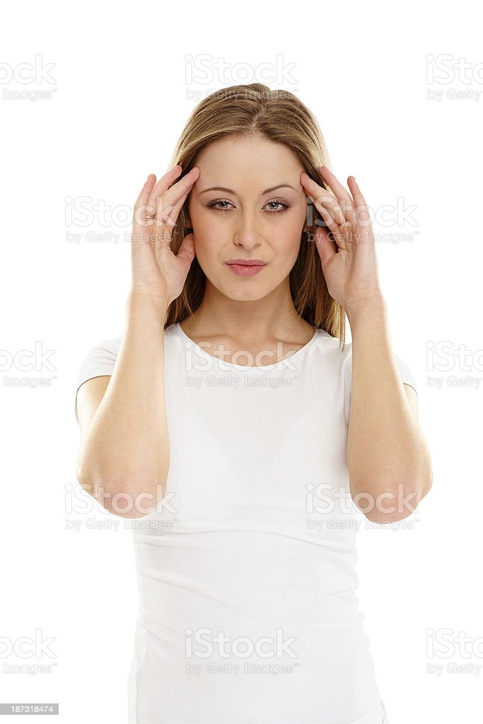 Beautiful young girl suffering from headache on white royalty-free stock photo