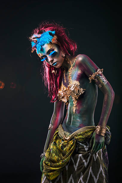 beautiful young girl with body art in an  fantasy style - meerjungfrau fantasy make up stock-fotos und bilder