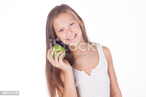 104545719istockphoto Beautiful young girl with green apple. 865070008