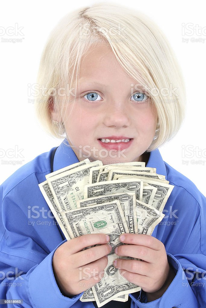 Beautiful Young Girl With Handful Of Money royalty-free stock photo