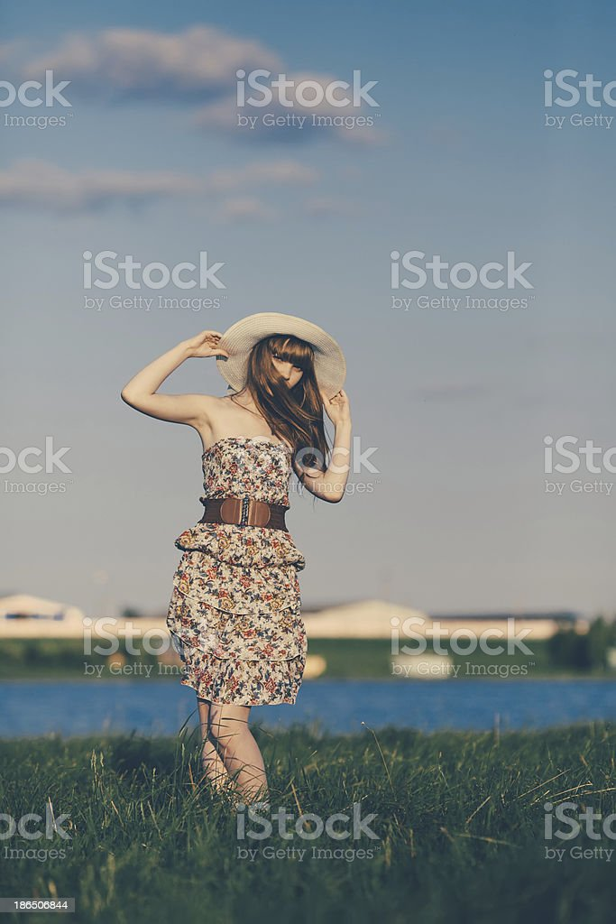 Beautiful young girl with long hair royalty-free stock photo