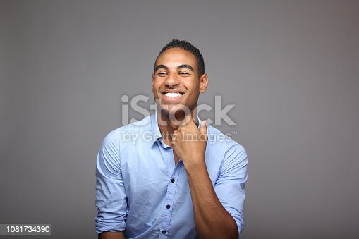 istock Beautiful young happy commercial man with different poses 1081734390