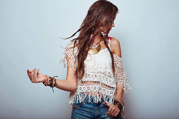 Beautiful young hippie woman stock photo