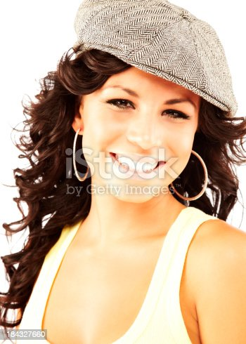 807419930 istock photo Beautiful young hispanic woman wearing had looking at camera smiling 184327660