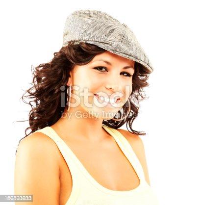 807419930 istock photo Beautiful young hispanic woman wearing had looking at camera smiling 186863633