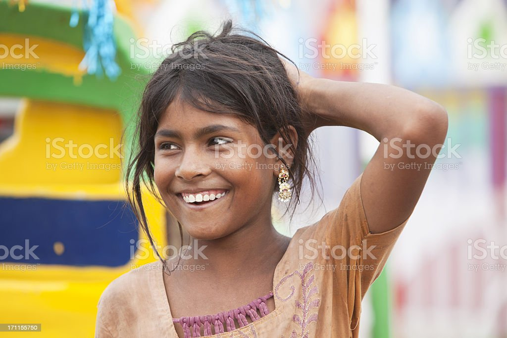 Beautiful Young Indian Girl At Pushkar Camel Market India Royalty Free Stock Photo