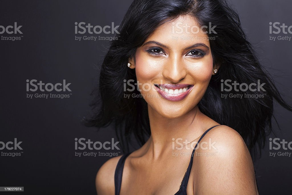 beautiful young indian model close up stock photo