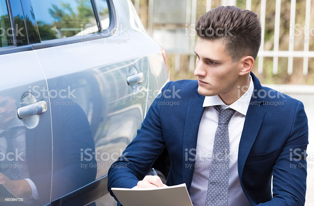 Beautiful Young Insurance Agent Watching Car Damaged Stock ...